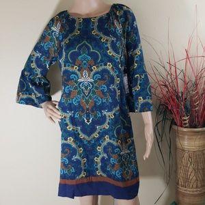 NWT New York & Company Blue Printed Summer Dress M